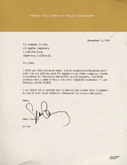 Carta de Sean Connery para Steve Jobs - Scoopertino