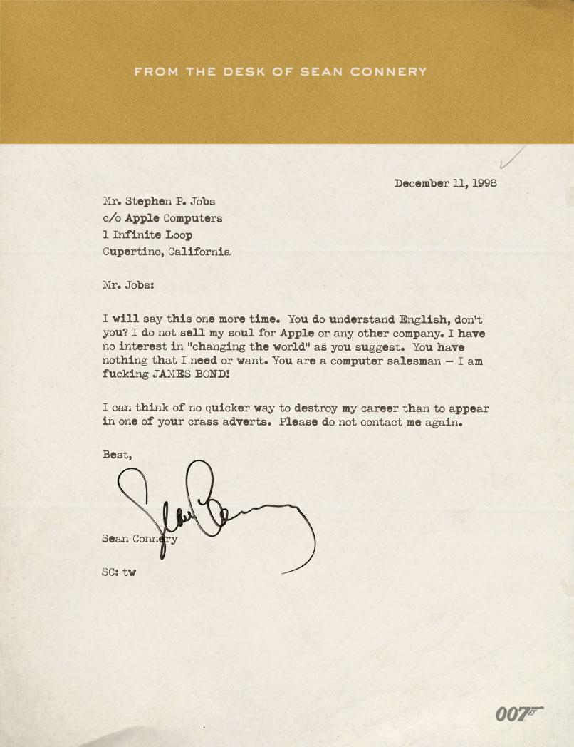 Carta de Sean Connery para Steve Jobs - Scoopertino