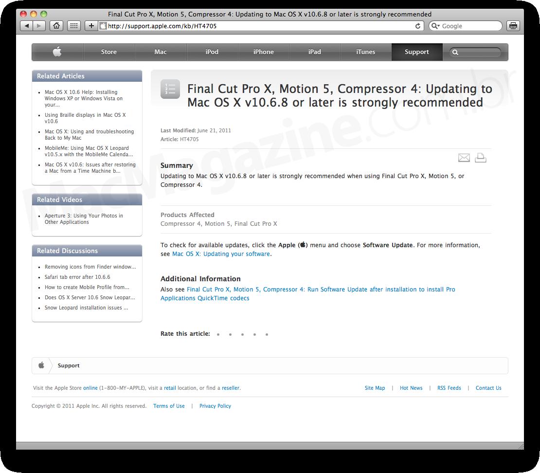 Mac OS X 10.6.8 no Final Cut Pro X