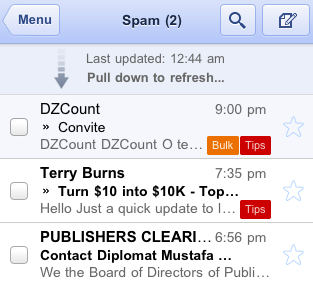 Gmail for mobile - Pull to refresh