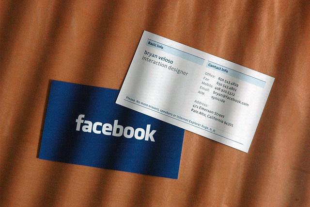 Cartão de visitas do Facebook