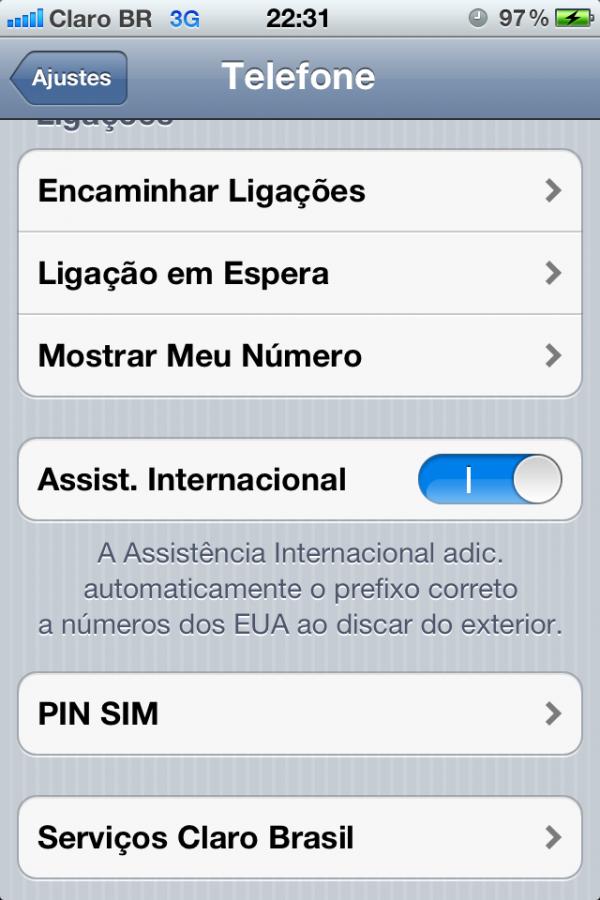 Ajustes Telefone no iOS 5 beta 2