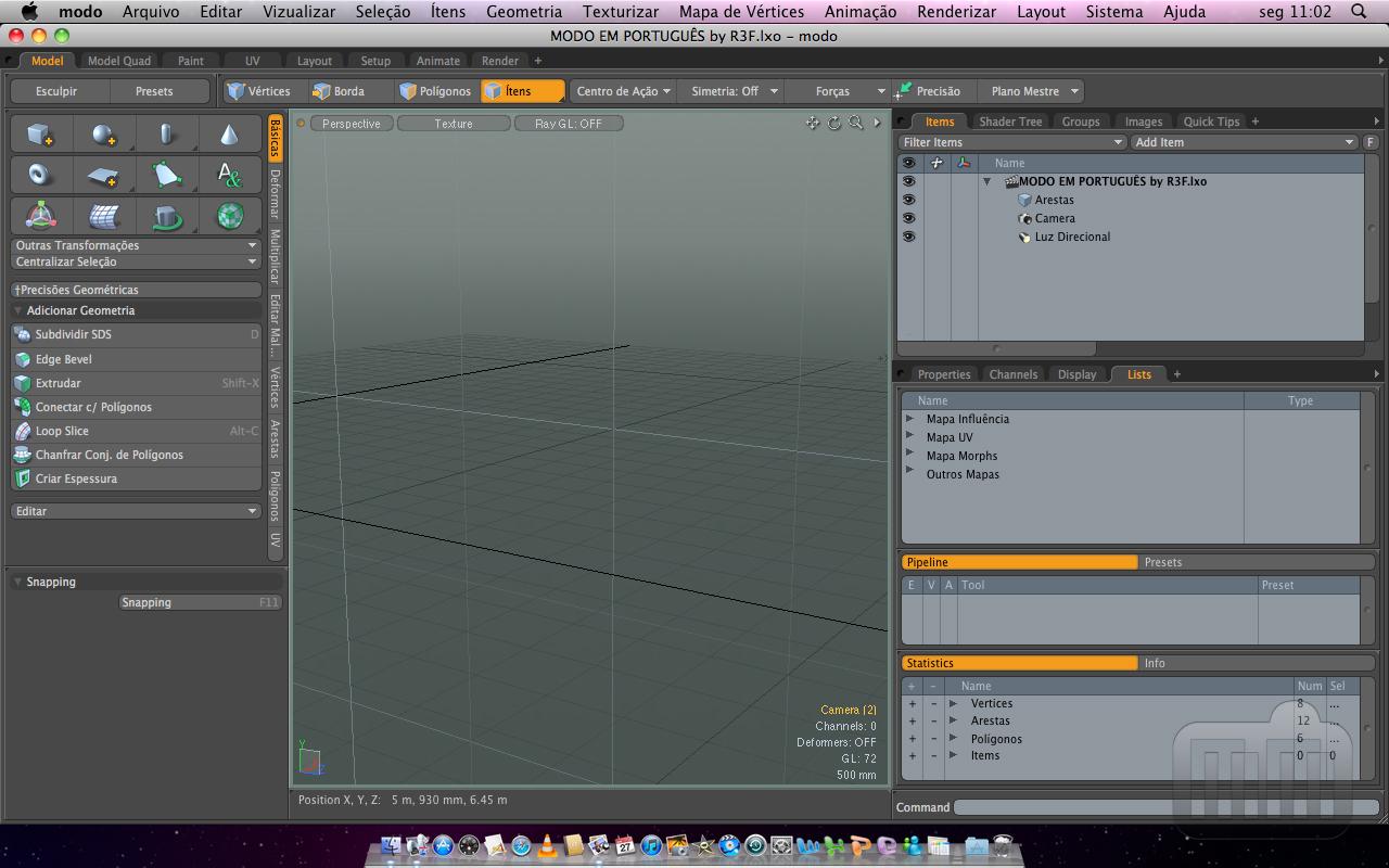 MODO 3D em português no Mac OS X
