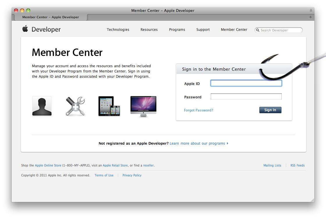 Phishing no Apple Dev Center