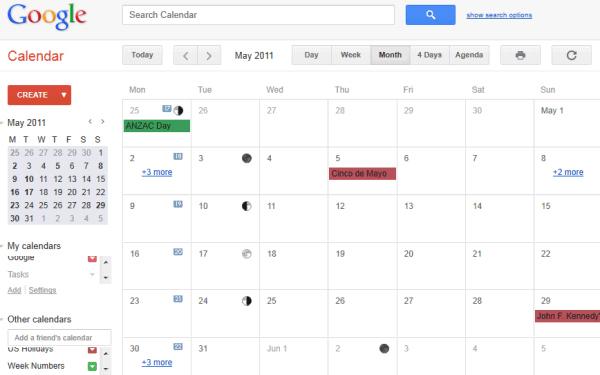 Novo visual do Google Calendar