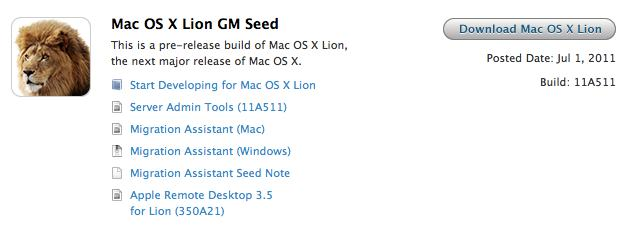 OS X Lion Golden Master