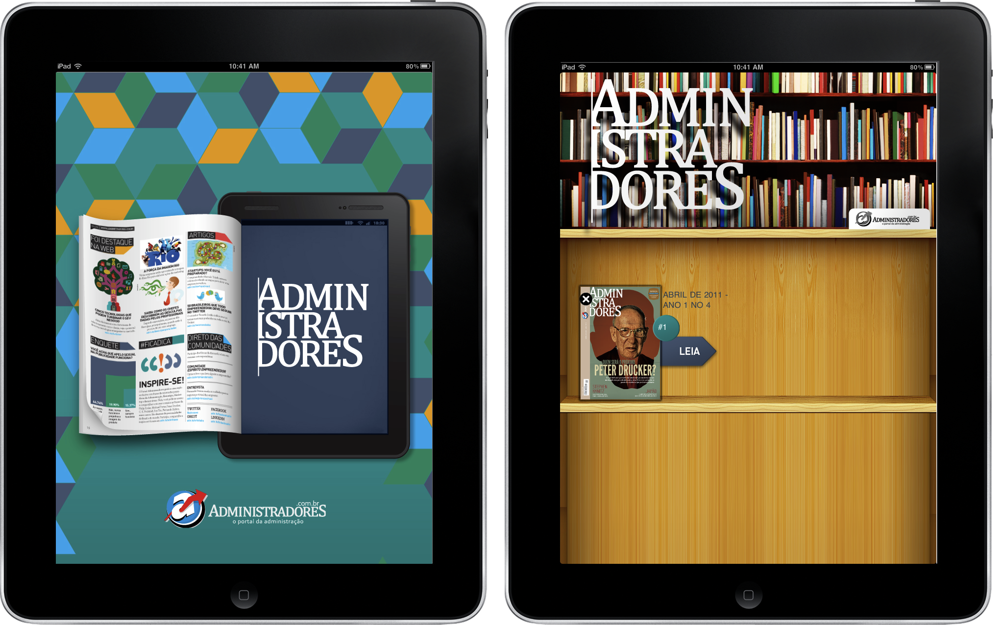 Administradores e Revista Tablet no iPad