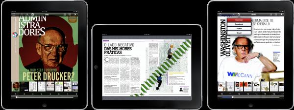 Administradores e Revista Tablet no iPad
