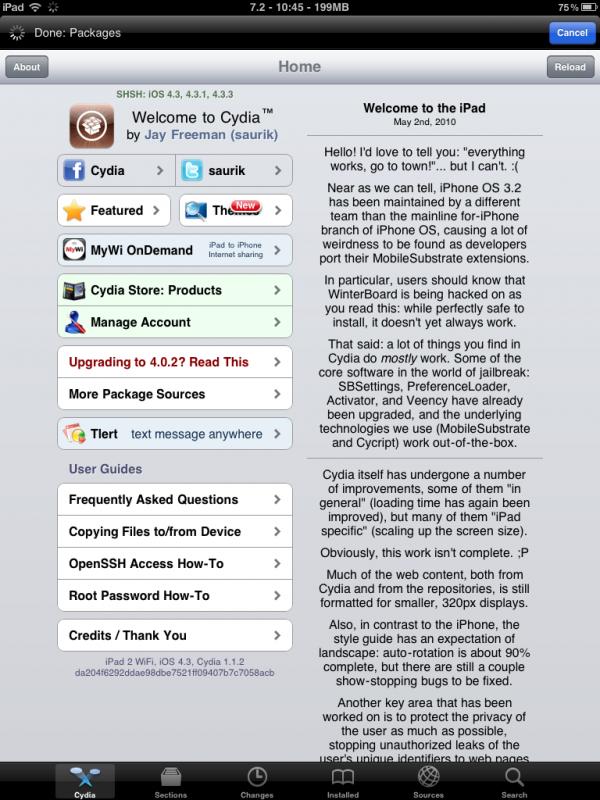 iPad 2 com jailbreak no Cydia