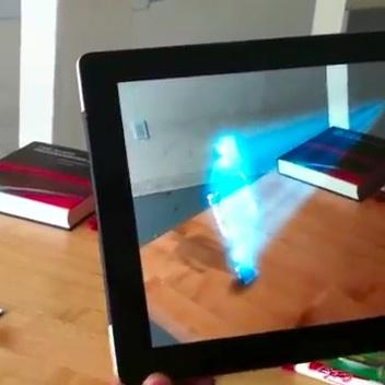 Mensagem holográfica do Kinect no iPad