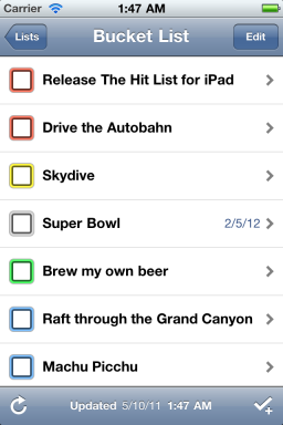 The Hit List - iPhone