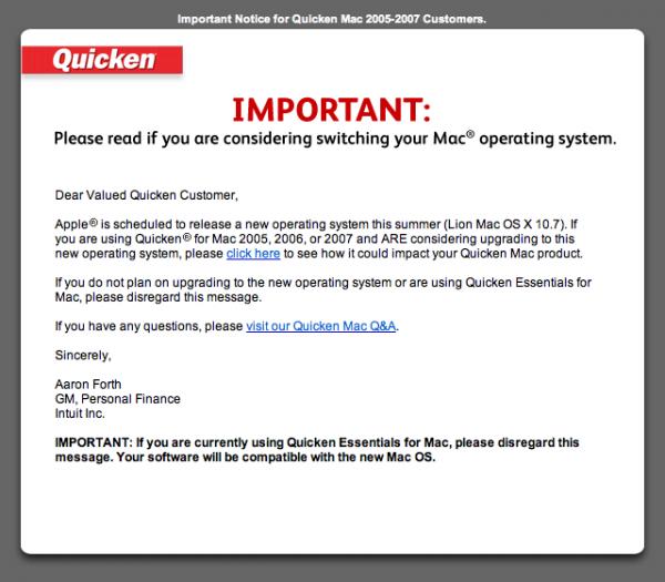 Alerta de incompatibilidade do Quicken 2007 com o OS X Lion