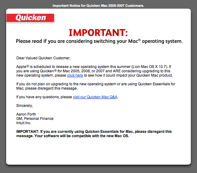 Alerta de incompatibilidade do Quicken 2007 com o OS X Lion