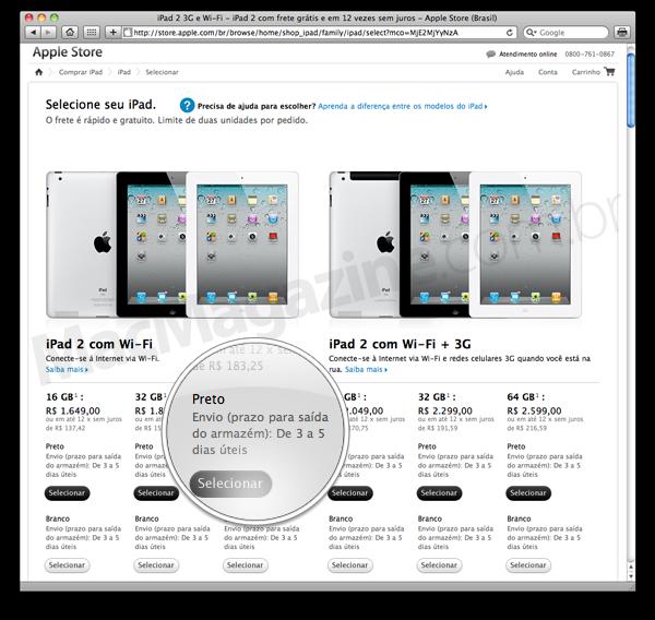 Prazo de envio de iPads - 3-5 dias
