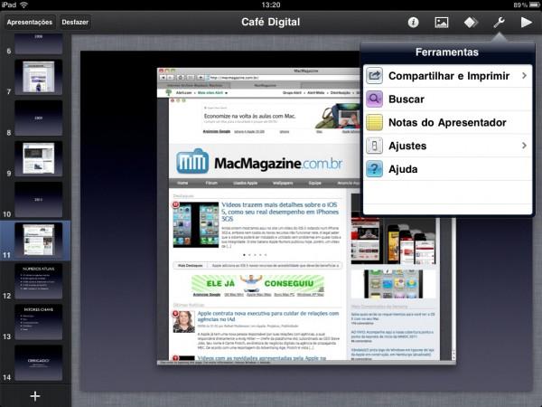 Apresentação rodando no iPad