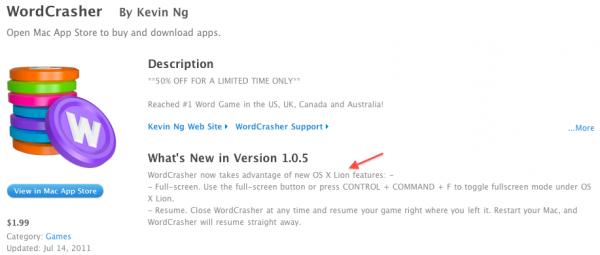 WordCrasher na Mac App Store