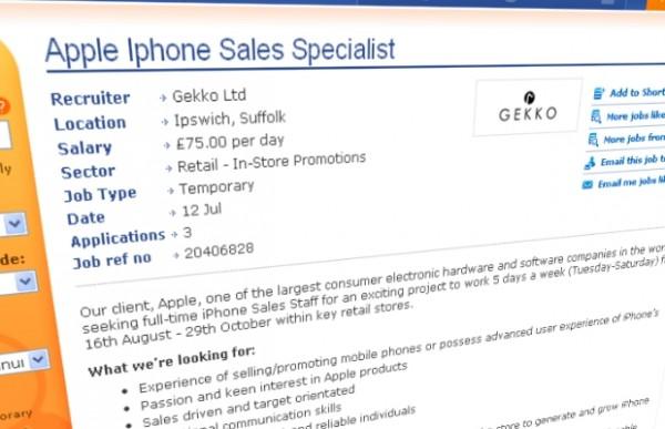 Anúncio de vaga de emprego - iPhone novo?