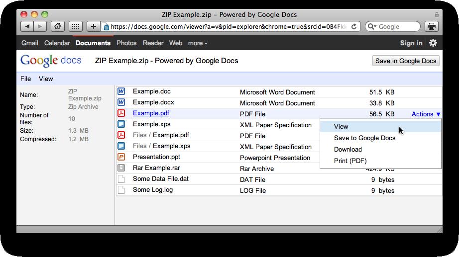 ZIP no Google Docs Viewer