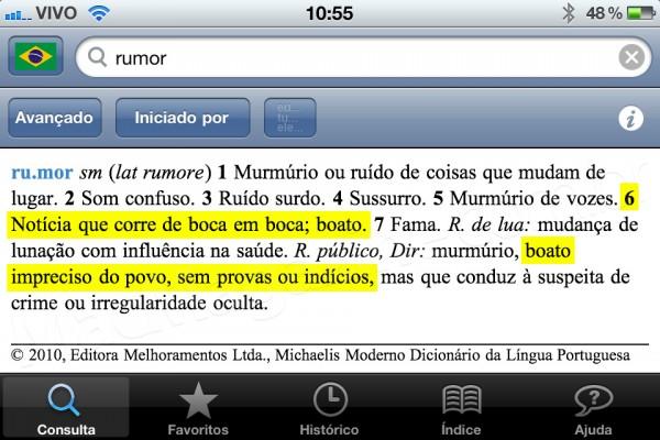 Definição de rumor no Michaelis