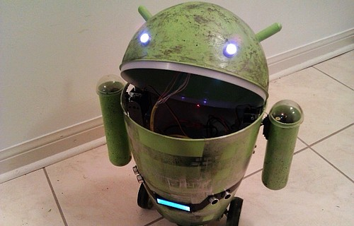 Lata de lixo em formato de Android