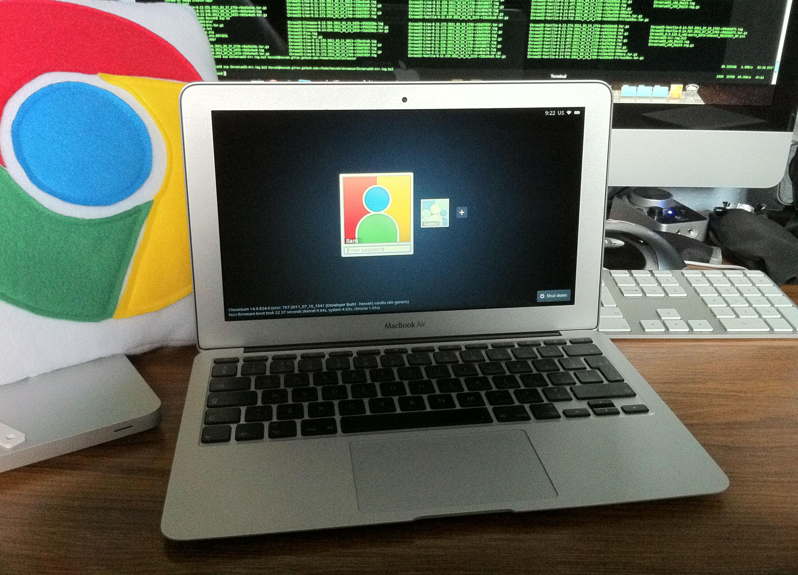 MacBook Air rodando o Chromium OS