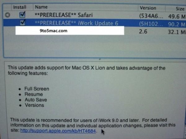 iWork para o OS X Lion