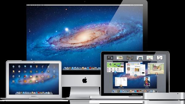 Família de Macs rodando o OS X Lion