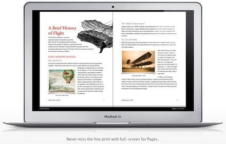 Pages do Lion num MacBook Air