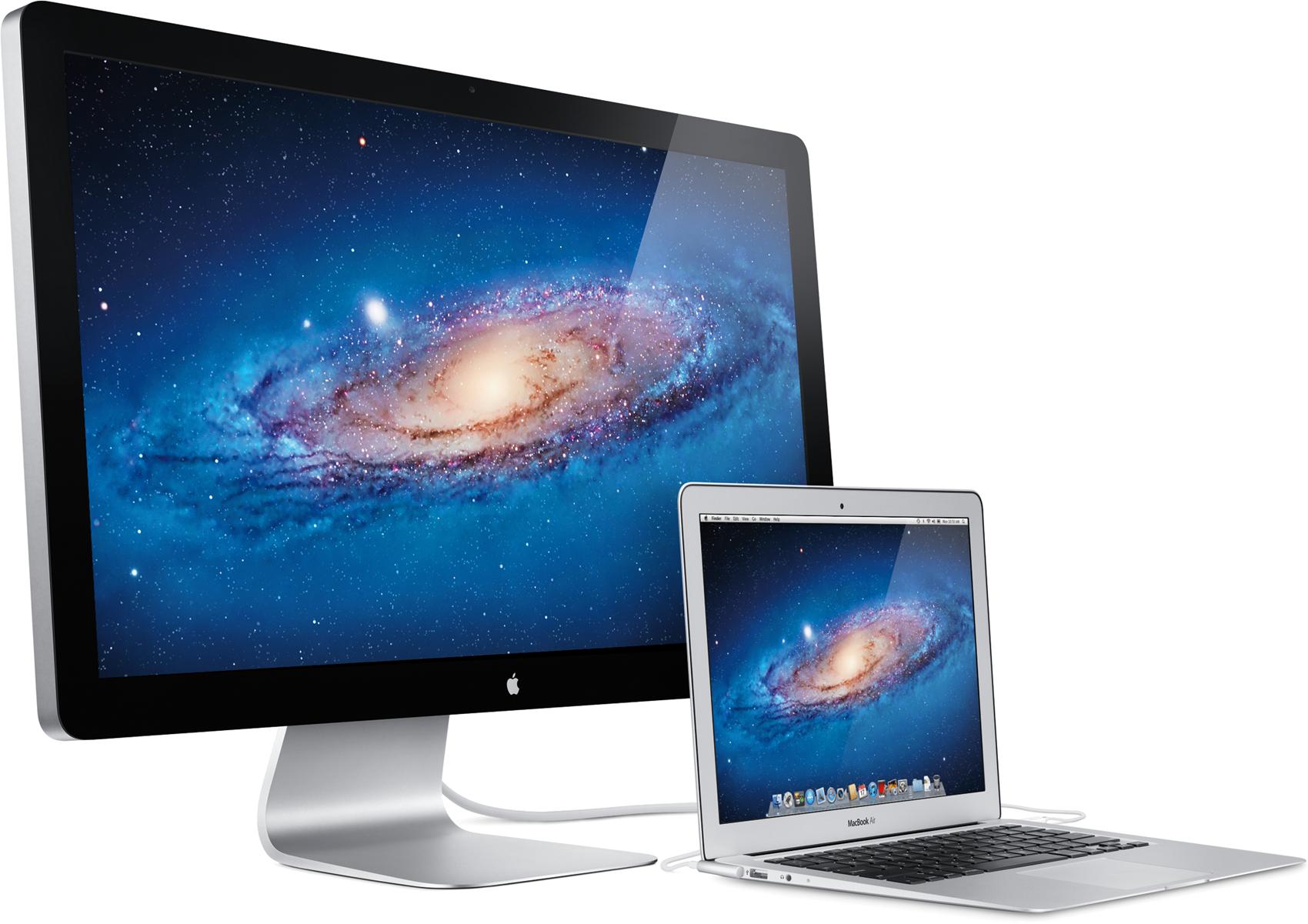 Thunderbolt Display de lado com MacBook Air