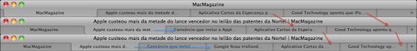Comportamento das abas no Safari 5.1