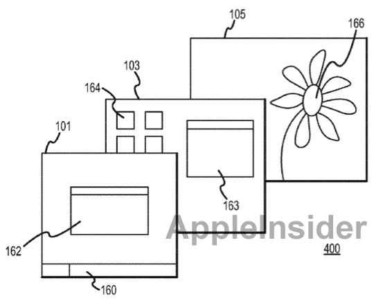 Patente de tela 3D com displays em camadas