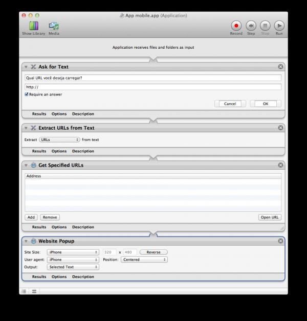 Criando apps com sites no Automator do Lion