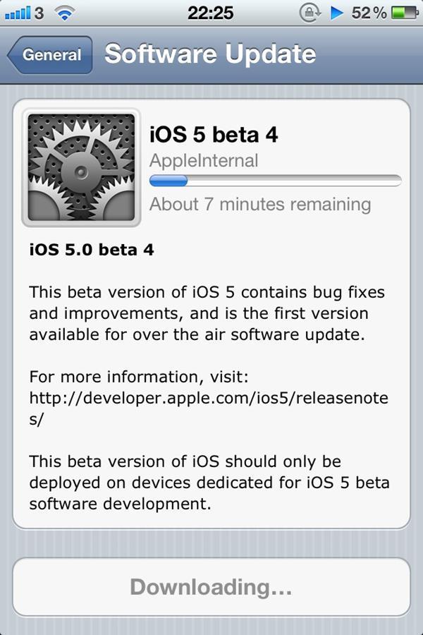 OTA no iOS 5 beta 4