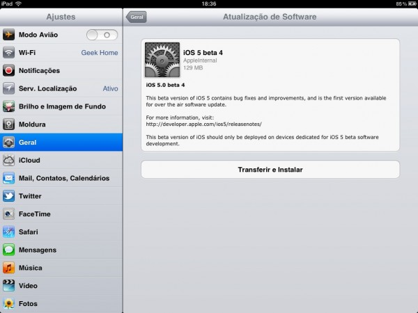 OTA no iPad do iOS 5 beta 4