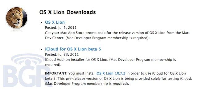 iCloud beta 5 requer o OS X Lion 10.7.2