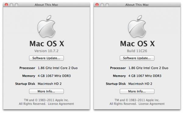 OS X Lion 10.7.2 build 11C26