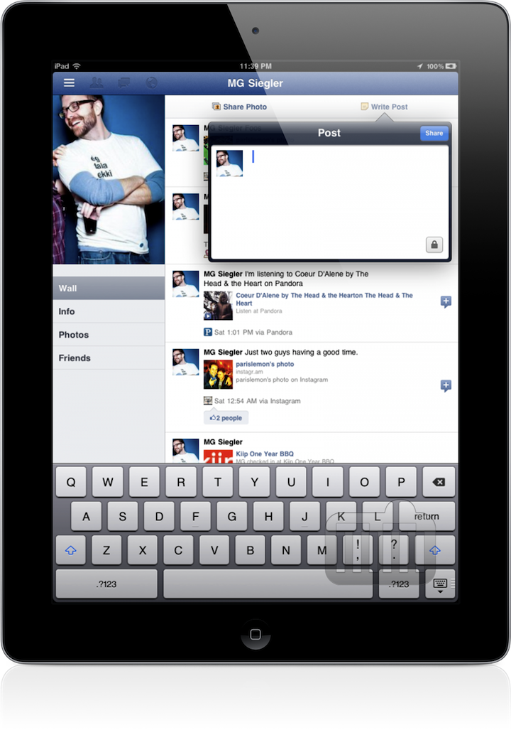 App do Facebook para iPad