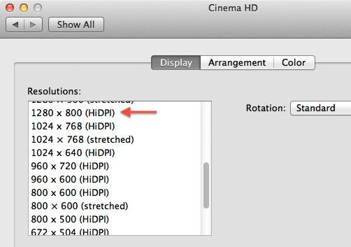 Janela de configuração de displays HiDPI