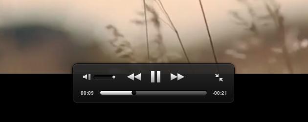 Controles modificados com HTML5 em vídeo em tela cheia