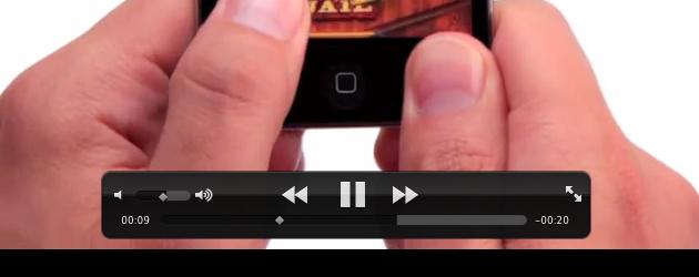 Controles do QuickTime em vídeo em tela cheia