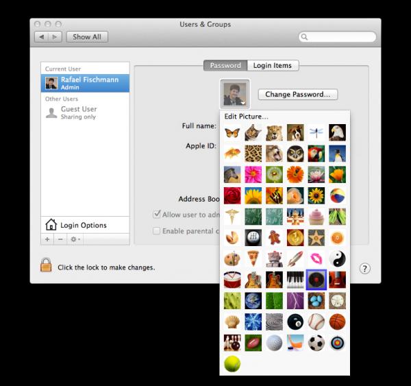 Janela de seleção de usuário no OS X Lion