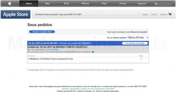 Antigo visual da página de pedidos da Apple Online Store