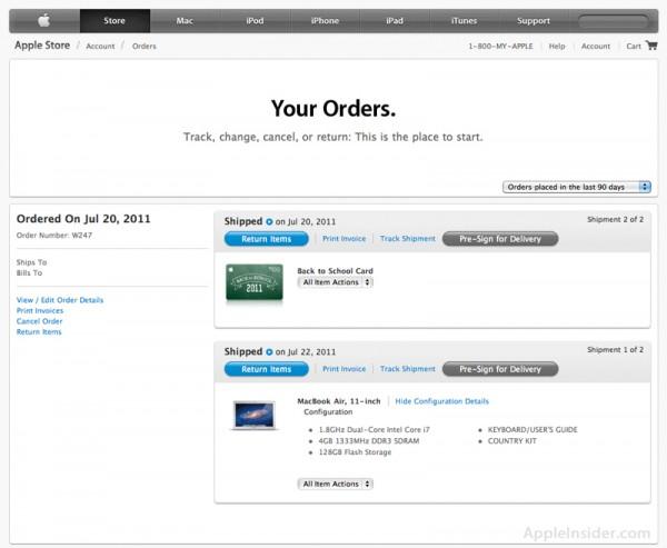 Novo visual da página de pedidos da Apple Online Store