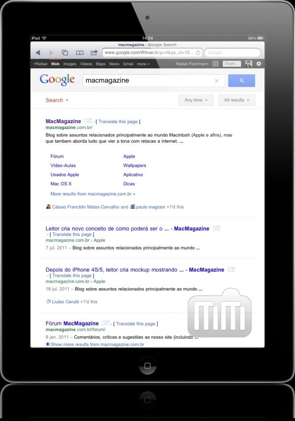 Interface do Google no iPad