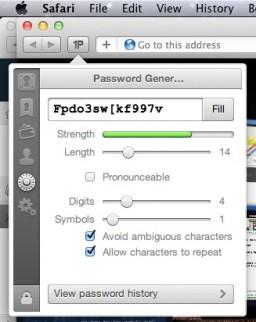 Nova extensão do 1Password no Safari 5.1