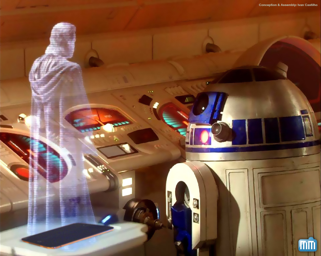 Holograma no iPad à la Star Wars