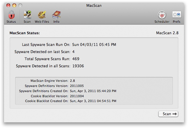 MacScan no Mac OS X