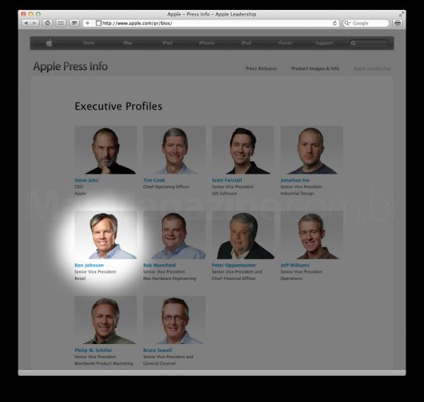 Ron Johnson entre os executivos da Apple