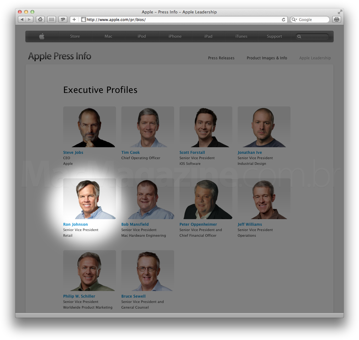 Ron Johnson entre os executivos da Apple