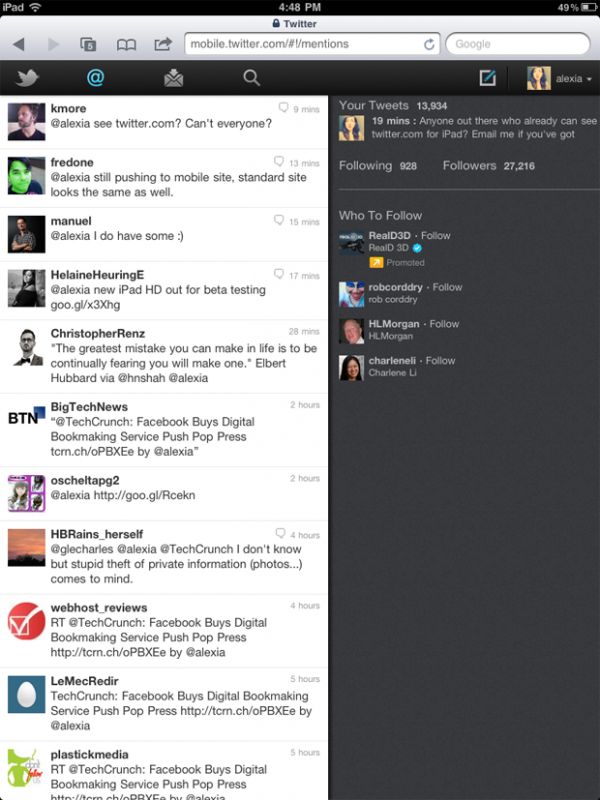 Twitter em HTML5 para iPad